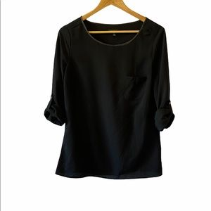 LE CHATEAU Black Light Long Blouse Top S